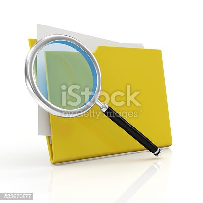 istock Magnifying Glass and Yellow Folder. Searching concept 533670677