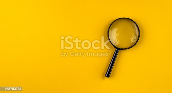 Magnifying glass, background, yellow