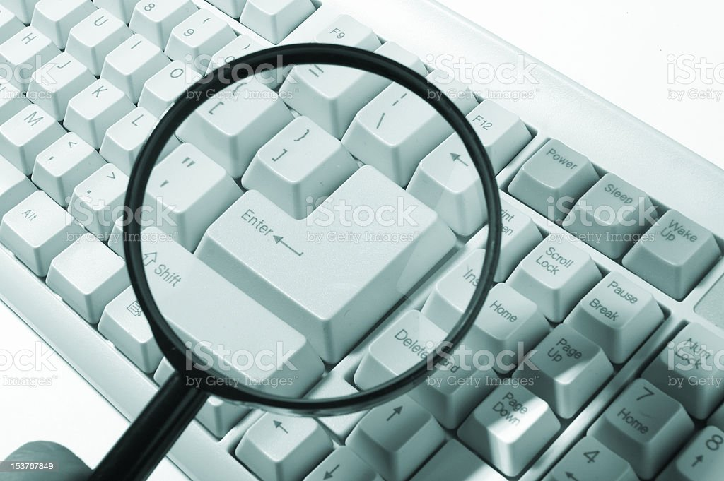 Magnifying glass, button, key royalty-free stock photo