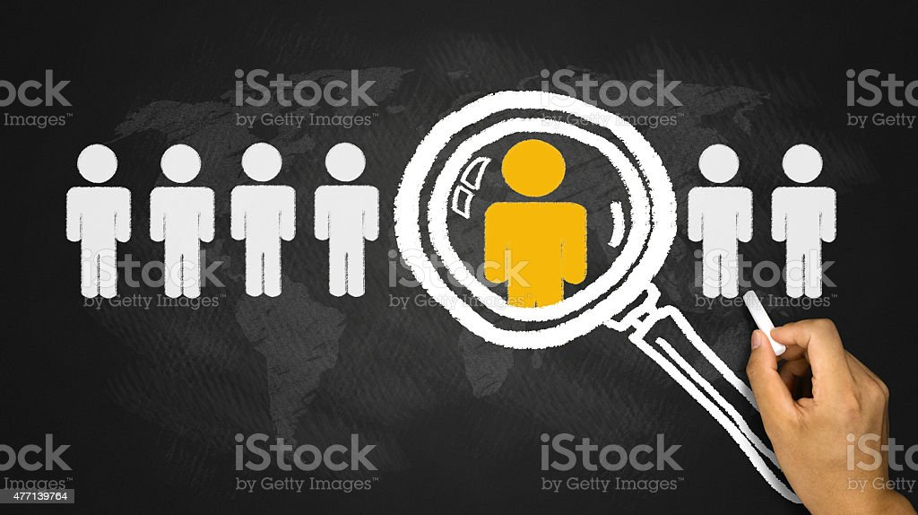 magnifying glass chooses different one stock photo
