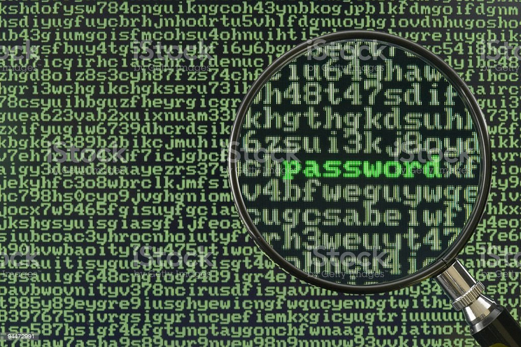 Magnifying glass focused on single word, Screen full of alphanumerics depicting encryption and the word password emphasized by a magnifying glass Accessibility Stock Photo