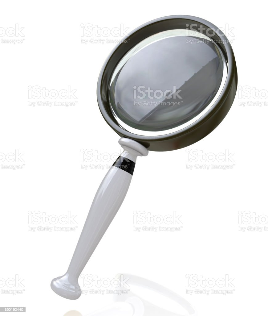 Magnifying Glass in the design of access to information relating to the search. 3d illustration stock photo