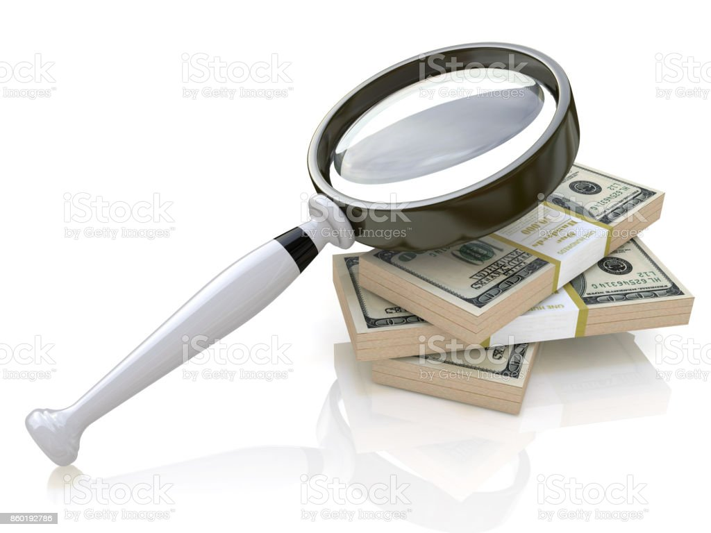 Magnifying Glass in the design of information related to business and the economy. 3d illustration stock photo