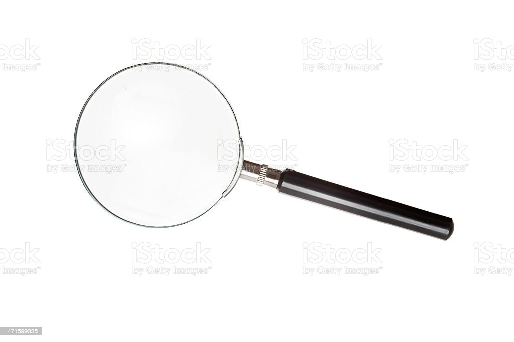 Magnifying glass isolated on white background stock photo
