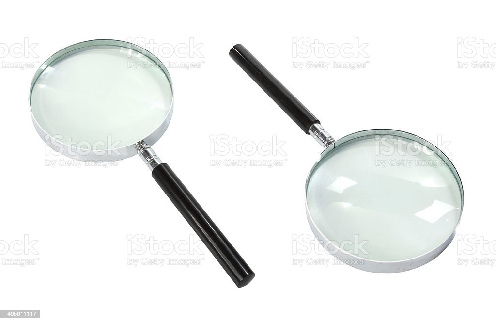 Magnifying glass isolated on white royalty-free stock photo
