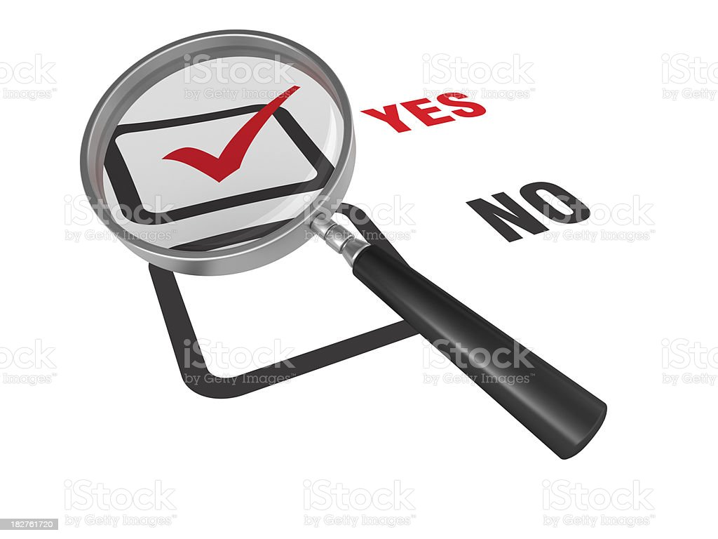 Magnifying Glass on  Check Box royalty-free stock photo