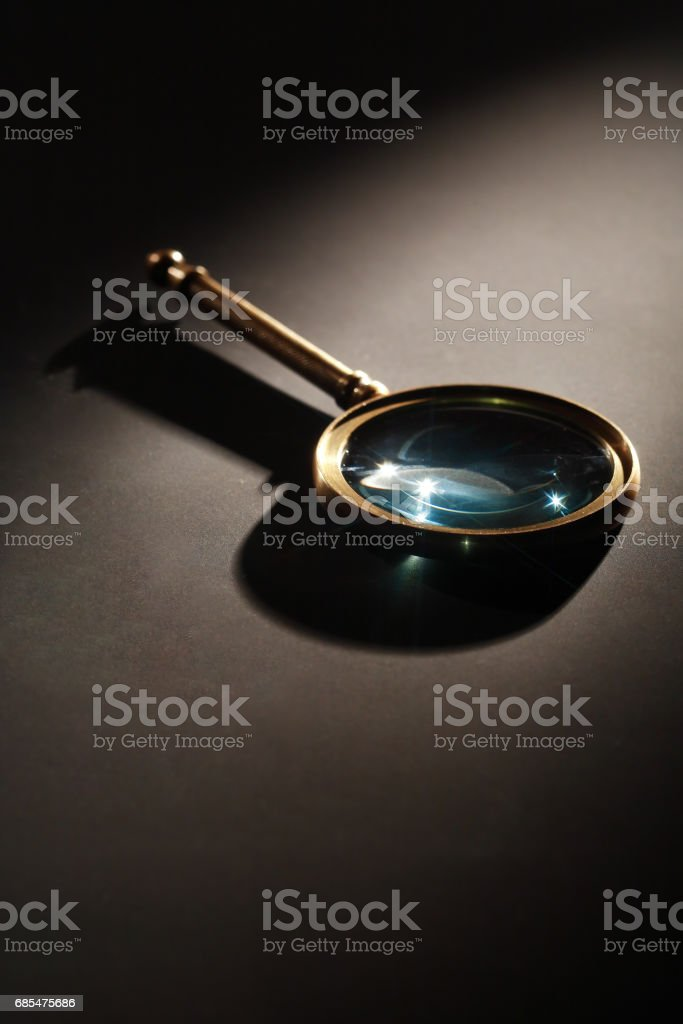 Magnifying Glass On Dark stock photo