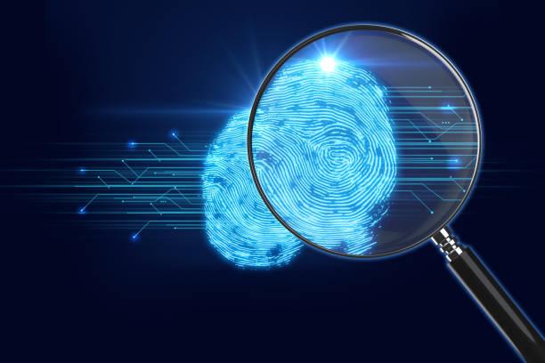 Lupe auf digitalen Fingerabdruck Hintergrund. 3D illustration – Foto