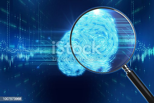 istock Magnifying Glass on digital fingerprint background. 3d illustration 1007573968