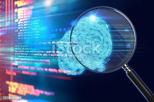 istock Magnifying Glass on digital fingerprint background. 3d illustration 1019737386