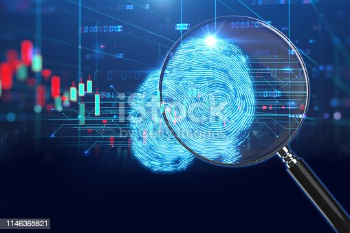istock Magnifying Glass on digital fingerprint background. 3d illustration 1146365821