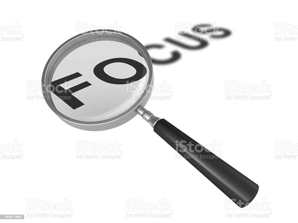 Magnifying Glass on Focus Word royalty-free stock photo