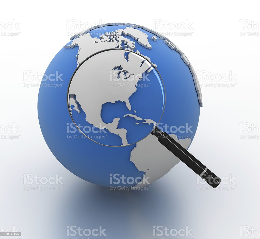 Magnifying Glass on Globe royalty-free stock photo