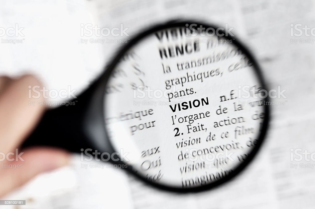 Magnifying glass on the word vison in a French dictionary stock photo