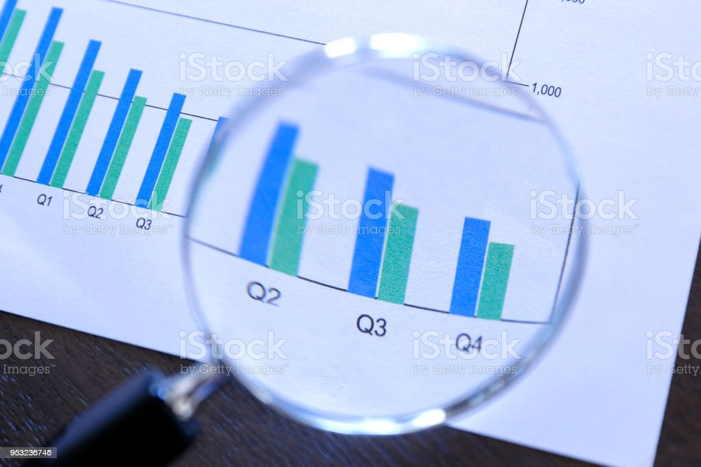 Magnifying Glass On Top Of Bar Chart Showing Decling Performance stock photo