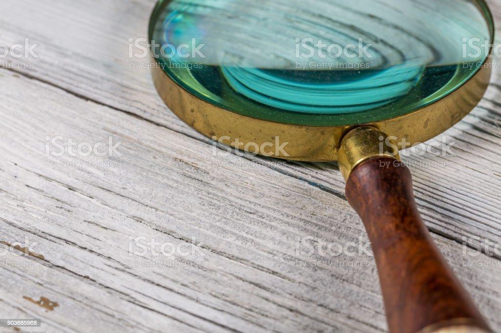Lupa sobre madeira - foto de acervo