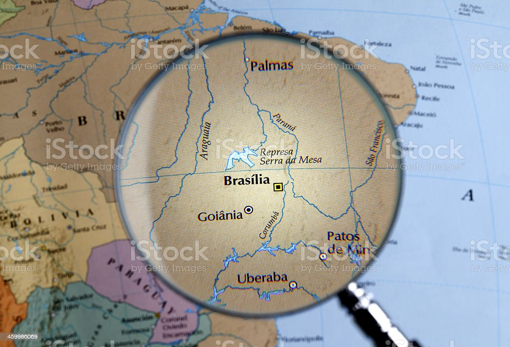 Magnifying glass over a map of BRAZIL stock photo