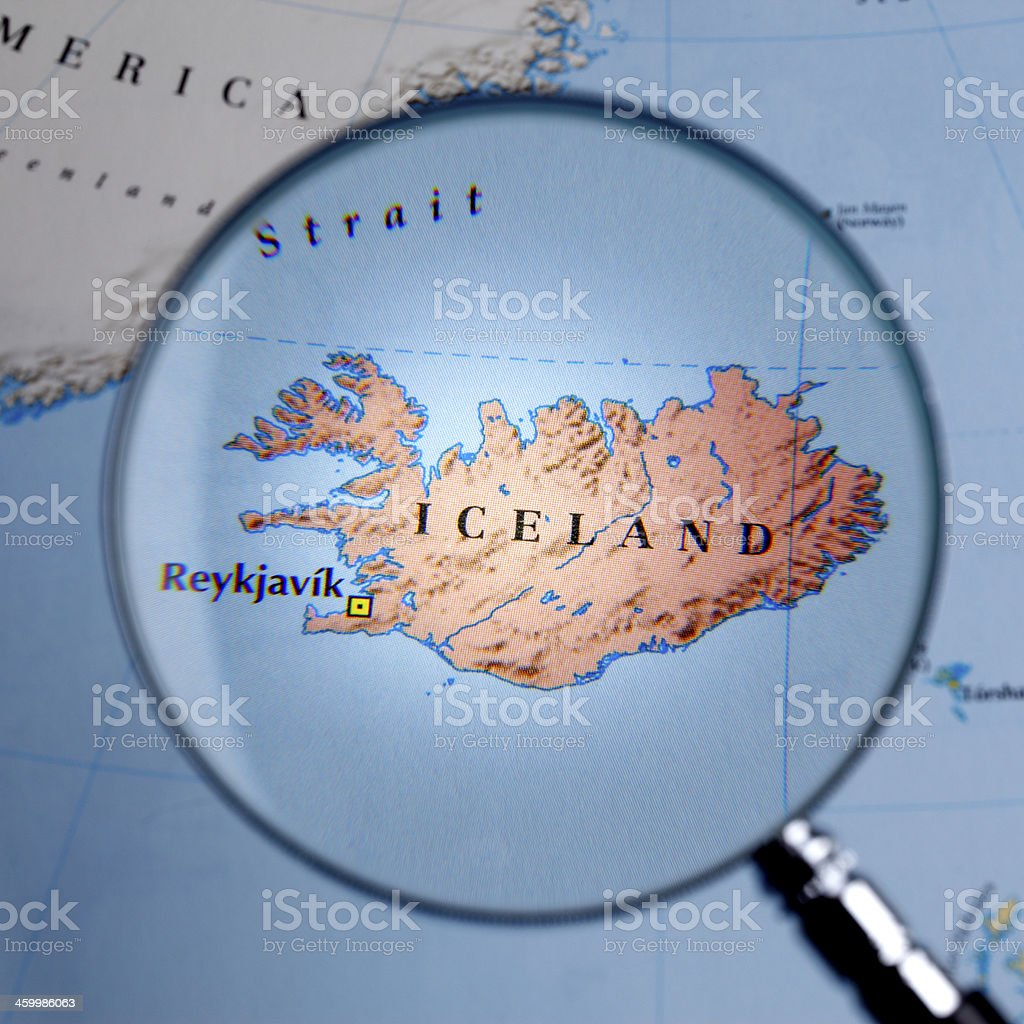 Magnifying glass over a map of iceland stock photo more pictures magnifying glass over a map of iceland royalty free stock photo gumiabroncs