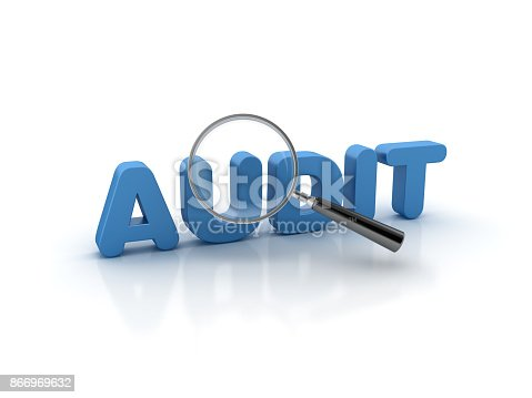 Magnifying Glass over AUDIT Word - White Background - 3D Rendering