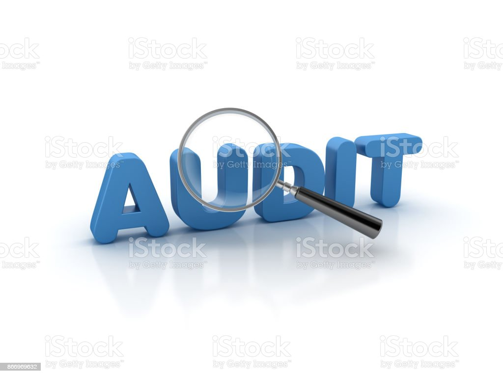 Magnifying Glass over AUDIT Word - 3D Rendering stock photo