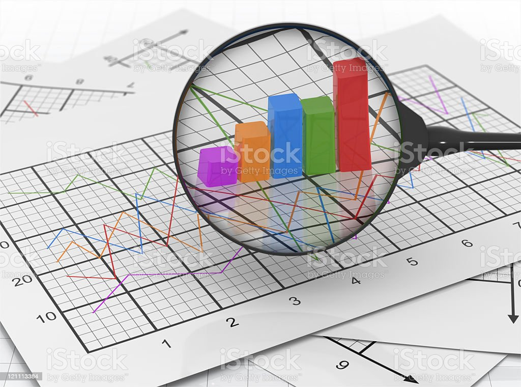 Magnifying glass over colorful 3D graph on business charts royalty-free stock photo