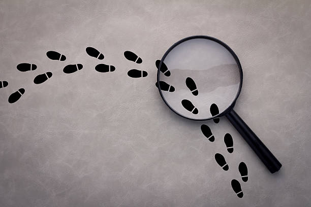Magnifying glass over footsteps Magnifying glass over footsteps on grey background detective stock pictures, royalty-free photos & images