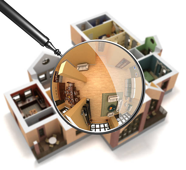 Magnifying glass over interior stock photo