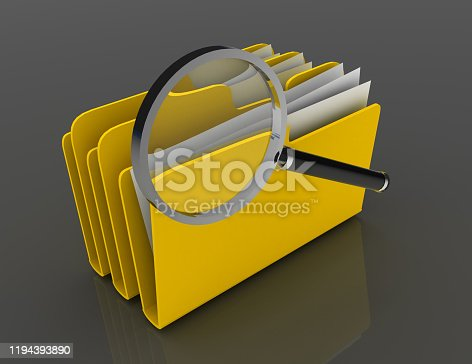 Magnifying glass over the blue folders. Files investigation.