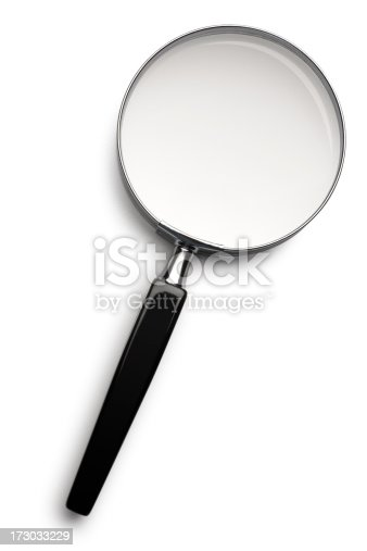 Magnifying glass on white with soft shadow. Clipping path included.