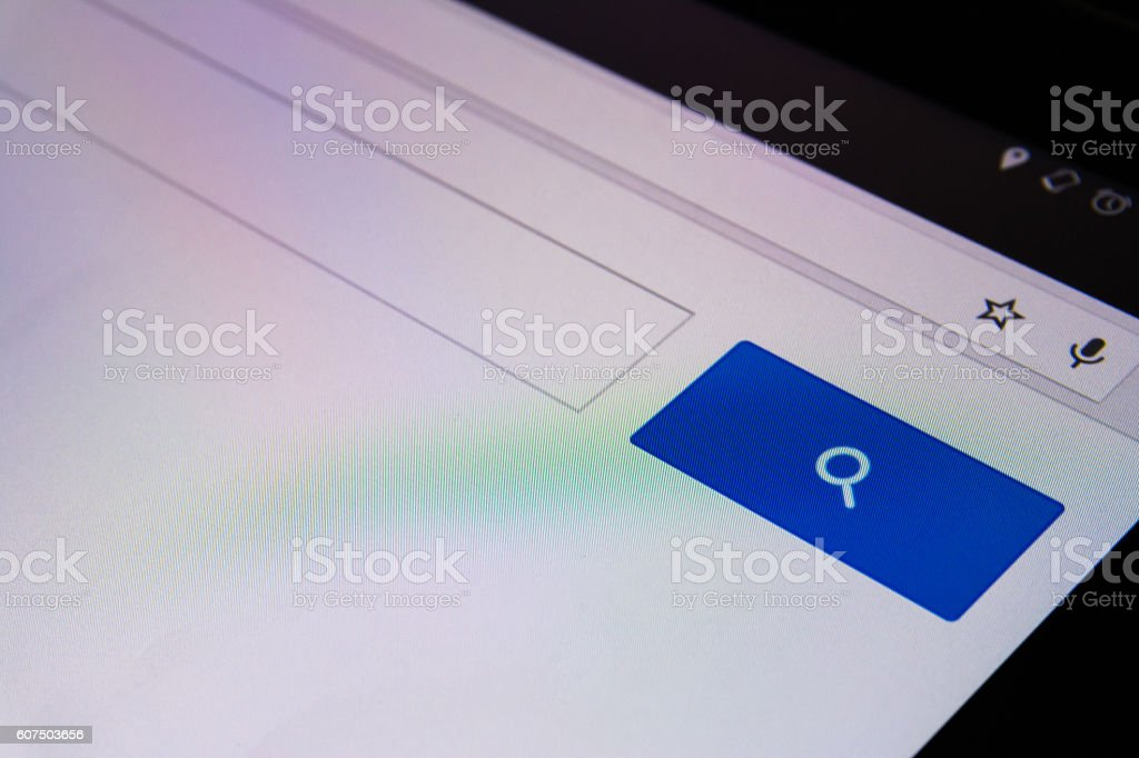 Magnifying Glass Search Box Empty Blank Internet Screen stock photo