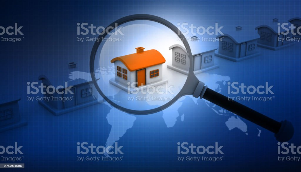 Magnifying glass searching for unique house stock photo