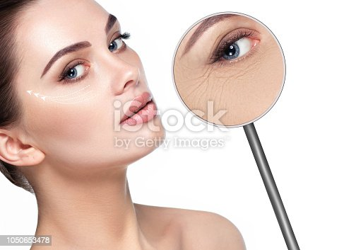 istock magnifying glass showing Wrinkles around the eyes 1050653478