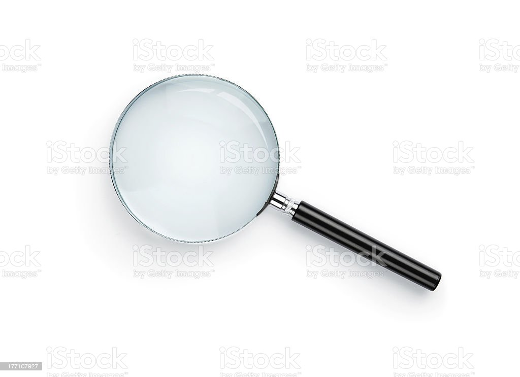 A magnifying glass with a black handle on white background stock photo