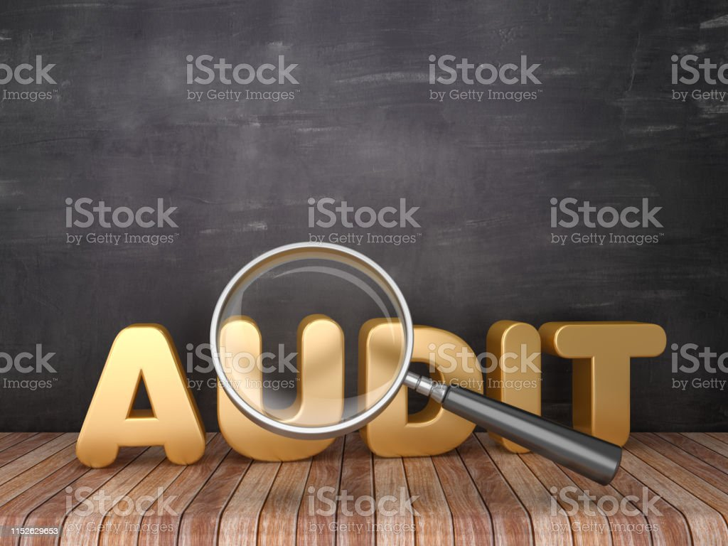 Magnifying Glass With Audit Word Chalkboard Background 3d