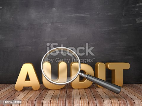 istock Magnifying Glass with AUDIT Word on Chalkboard Background - 3D Rendering 1152629653
