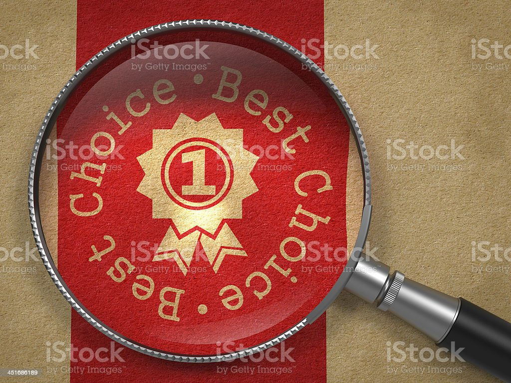 Magnifying Glass with Best Choice Concept. stock photo