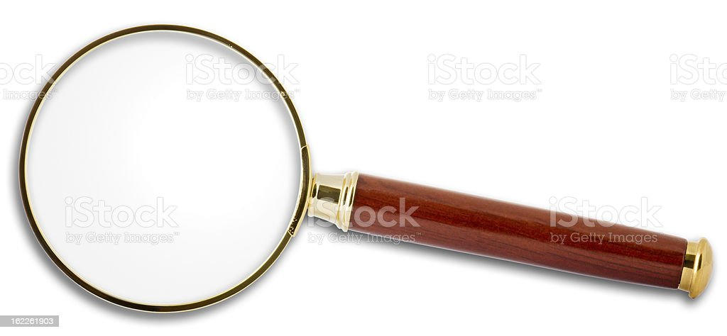 Magnifying glass with clipping path on white background royalty-free stock photo