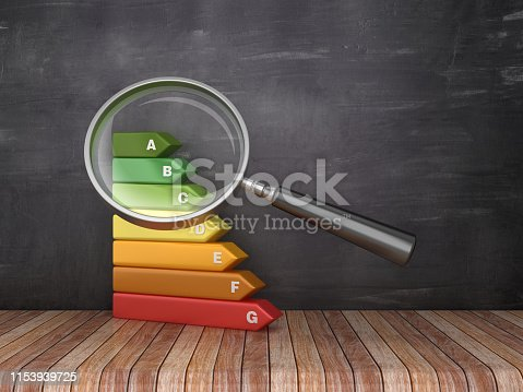Magnifying Glass with Energy Efficiency Diagram on Chalkboard Background - 3D Renderingg