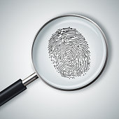 Magnifying glass with finger print isolated on white background. Fingerprint under a magnifier. Illustration stock