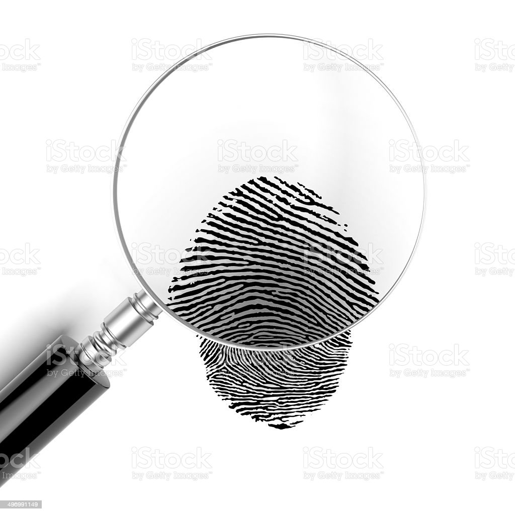 Magnifying glass  with finger print stock photo