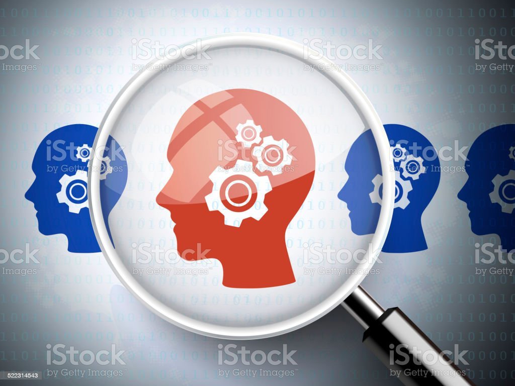 magnifying glass with gears on head  icons stock photo