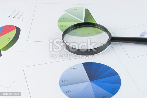 863469700 istock photo magnifying glass with graph chart as a background - Business concept 1069197402