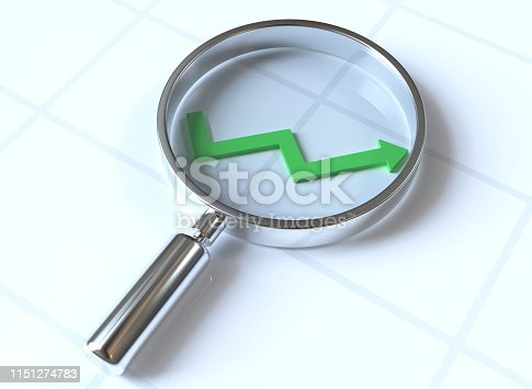 magnifying glass with growth arrow