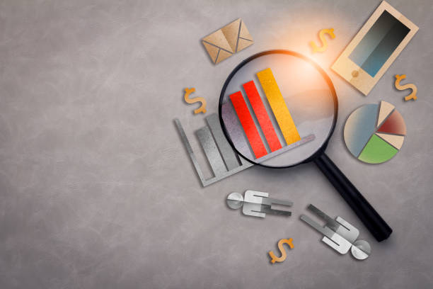 magnifying glass with papercut icon  business concept on grey texture background with free copyspace for your ideas text - market research stock photos and pictures