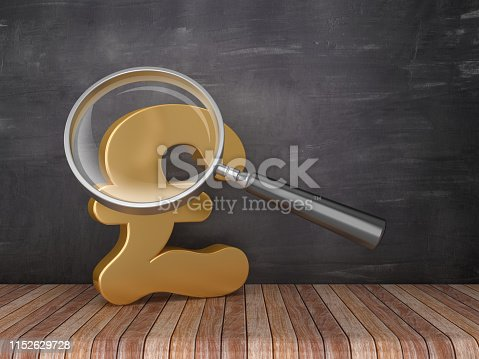Magnifying Glass with Pound Symbol on Chalkboard Background - 3D Rendering