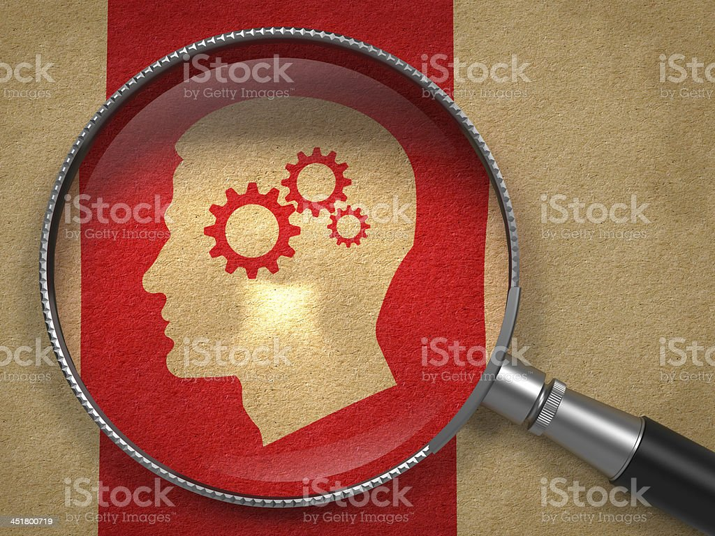 Magnifying Glass with Psychological Concept. stock photo