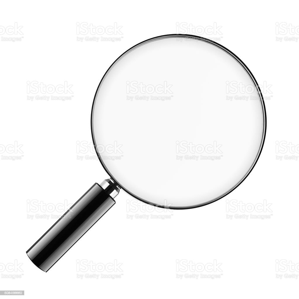 Magnifying Glass with short hand isolated on white. Clipping pat stock photo