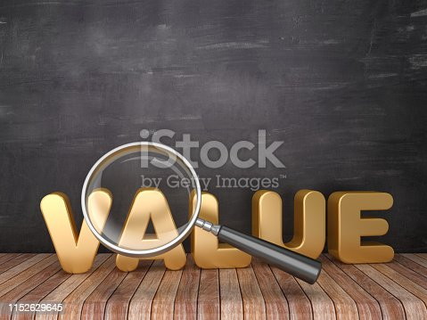Magnifying Glass with VALUE Word on Chalkboard Background - 3D Rendering