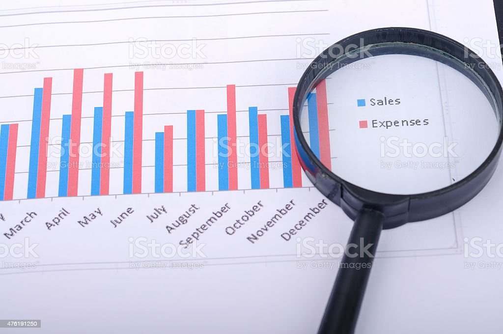 Magnifying Glass With Yearly Graph Bar Representing 'Sales/Expenses', Selective Focus stock photo