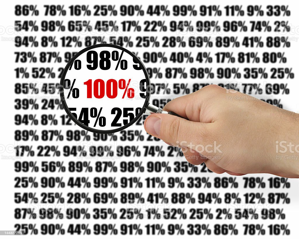 Magnifying glass zooming in on 100% with other numbers stock photo
